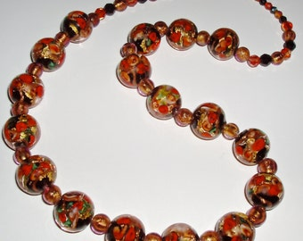 Extraordinary Gold, Red, Black Infused Floral Clear Murano Glass Necklace