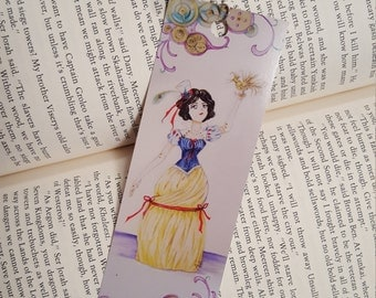 Steampunk Snow White Bookmark with Beaded Tassel and Mirror Charm.