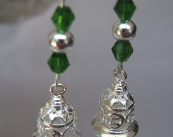 Asian Influenced Silver Bell Earrings with Clear Swarovski and Iridescent Green Crystals