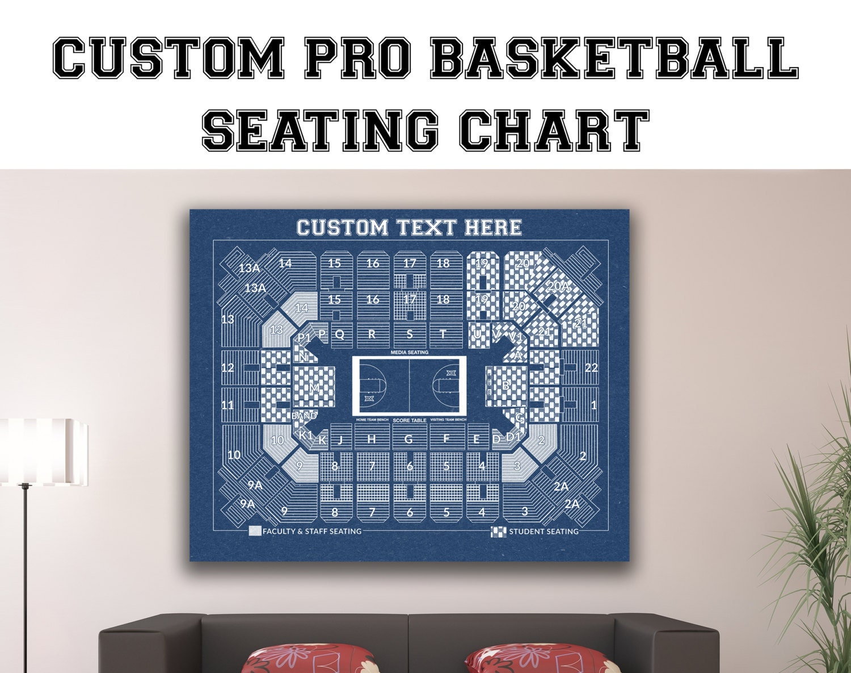 Vintage print of custom pro basketball seating chart on for 12x15 calculator