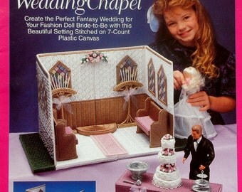 The Needlecraft Shop Fashion Doll Carry & Play WEDDING CHAPEL Plastic Canvas Dollhouse Furniture For Barbie Doll - Pattern Chart Booklet