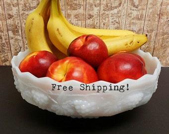 Fruit Bowl Fire King Anchor Hocking Milk Glass White Grape Panel Free Shipping!