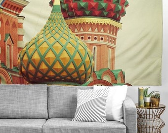 Moscow Onion Domes cool wall tapestries, great graduation gift dorm decor wall accessory tapestry, housewarming gift landscape wall tapestry