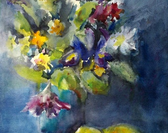 "flowers, lemon, iris, kitchen art, blue, green. What to Do- Original watercolor painting (16"" x 12"")."