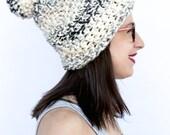 Pom Pom hat, Winter hat, Beanie pom pom, pom pom beanie, The Brighton Pom Pom hat in Moonlight