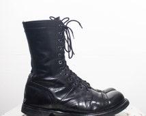 8.5 E | Men's Vintage Double H / HH Paratrooper Jump Boots Cap Toe Combat Boots in Black Leather