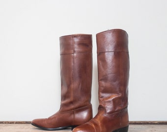 6 M | Vintage ACME Equestrian Riding Boots Brown Leather High Boots