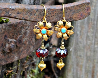 Golden Flower Earrings vintage Swarovski turquoise crystal flower crimson red and gold colored dangle earrings handmade jewelry gift