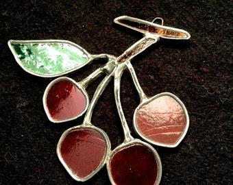 Vintage Leaded Glass Window Sun Catcher.  Cherries.  Vintage 1970.  Kitsch. Mod, pop, Mid century, Eames Panton era.