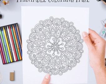 flower mandala coloring page instant digital download printable adult coloring book page