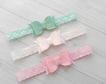 Set of 3 Chunky Wool Felt Bows on Lace Headbands -  Cool Mint, White and Pink -  Newborn Baby to Adult - Hair Bows
