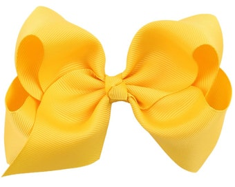 "Yellow Hair Bow / 5"" BIG Bow / Flower Girl / Photo Prop / Pageant / Birthday / Baptism / Infant / Baby / Girl / Toddler / Custom Boutique"