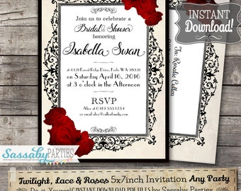 Twilight, Lace & Roses Invitation Bridal Shower  - INSTANT DOWNLOAD - Partially Editable Printable, Birthday, Baby Shower Red Rose Invite