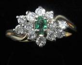 Vintage Emerald Diamonds 14k Gold Coctail Ring Cluster Estate Mid Century