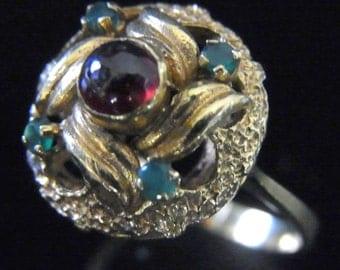 Retro 18k Yellow Gold Garnet Emeralds Ring Vintage Mid Century Estate Jewelry