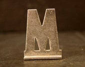 """Vintage Metal Sign Letter """"M"""" with Base, 1-13/16 inches tall (c.1950s) - Industrial Decor, Art Supply, Typography"""