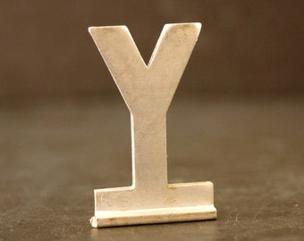 "Vintage Metal Sign Letter ""Y"" with Base, 1-13/16 inches tall (c.1950s) - Industrial Decor, Art Supply, Typography"