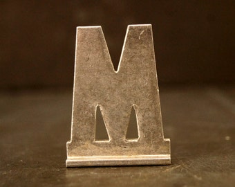 "Vintage Metal Sign Letter ""M"" with Base, 1-13/16 inches tall (c.1950s) - Industrial Decor, Art Supply, Typography"