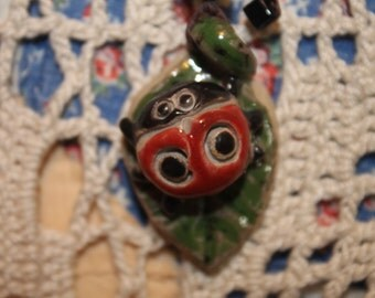 Cute Ladybug Clay Charm on Leather Rope Necklace