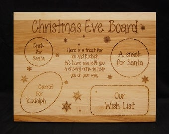 Grandchildren, Christmas Eve, Gifts for Kids, Cutting Board, Santa Clause, Rudolph, Wood Cutting Board, Gift