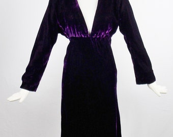 Vintage HALSTON DEEP PURPLE Silk Velvet Plunging Collar Evening Cocktail Dress Baby Doll Style Size 6