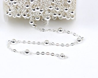 1 yard (3 feet) Silver Plated Ball and Link Chain, Bead Chain, Round Balls are 4mm, fch0333a