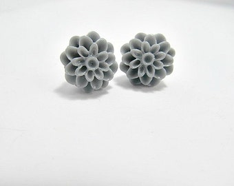 Charcoal Gray Dahlia Stud  Earrings