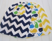 Baby Bib/Infant--18 mo./Set of Three Bibs/Whales in Bright & Chevron/Organic Fleece Back