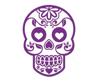 Sugar Skull Decal, Halloween Decal, Sugar Skull Sticker, Day of the Dead Decal, Vinyl Decal, Car Decal, Custom Decal, Yeti Decal, Wall Decal
