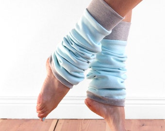 Slouchy dancer leg warmers, ballet leg warmers, cosy cotton duck egg blue and grey cuffed legwarmers, cotton extra long, gift for dancer