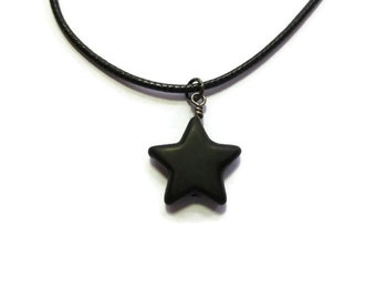 Black Star Necklace ~ Large Star ~ 21mm ~ Black Braided Cord Necklace ~ Howlite ~ Simple ~ Modern ~ Synthetic Turquoise ~ Choker