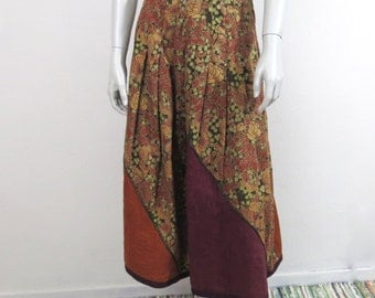 Vintage Late 70s Krizia Hippie Floral Skirt w Quilted Panels Fall Colors