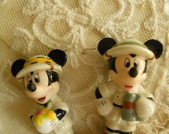 Disney Mickey Mouse Porcelain Figurines Vintage Pair of Slightly Different Mickey Mouse Figurines Stamped Disney Collectible Disney