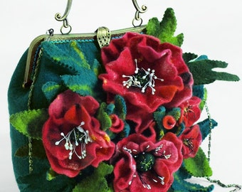 "Eco boho handbag ethno felted ""Poppies"" (eco-friendly boho-chic ethnic felt handbags buy)"