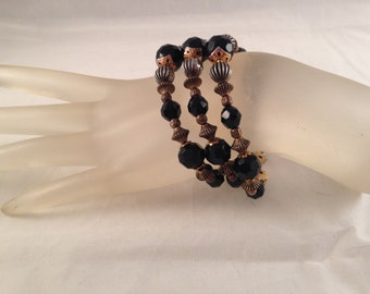 Antique Gold and Black Crystal Three Strand Bracelet 7.5 Inches Long 1.25 Inches Wide, One of a Kind Previously 20 Dollars ON SALE