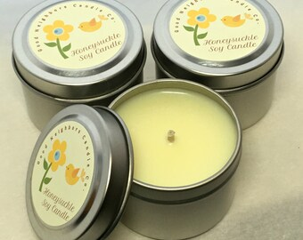 Three 2 ounce tins, Soy Candle, Honeysuckle, Mother's Day, Easter Gift, Yellow Candle