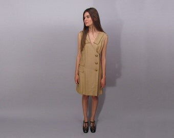 Vintage 60s Mod Dress, Linen Dress, Mod, Shift Dress, Tan Dress, 60s Vintage Dress, A-Line Dress Δ size: xs / sm