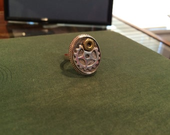 Steampunk Sterling Silver Ring / vintage Watch Gears / Halloween / October