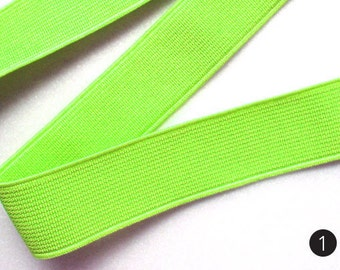 "1"" Shades of Neon Green/Yellow/Pink/Orange Stretch Elastic Band"