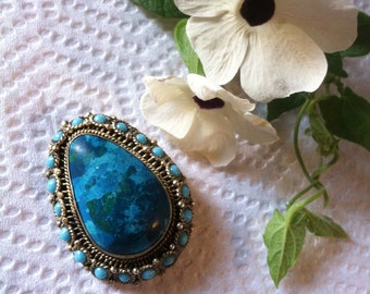 Eilat Stone Brooch Hand Made In Israel Judaica Vintage King Solomon Stone Pendant Filigree Sterling Silver Turquoise Chrysocolla Jewish Pin