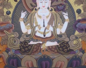 2.7 Beautifully Handpainted CHENREZIG Thangka Painting Art Nepal