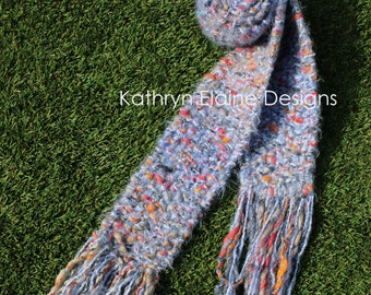 Blue Multi Color Hand Knit Scarf