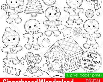 Gingerbread Wonderland- Digital stamps set - Gingerbread clipart