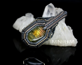 Golden rainbow labradorite pendant - orange yellow green stone wire wrapped armored pendant angular wrap borg dark jewelry gunmetal  giger