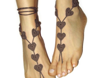 Barefoot Sandals- Brown Heart Foot Jewelry- Boho Wedding Accessory- Yoga Accessory- Anklet- Beach Party Shoes- Nude Shoes- Boho Sandals