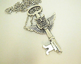 Silver Pendant Necklace,  Gothic Steampunk Owl Winged Key Necklace Womens Gift Handmade