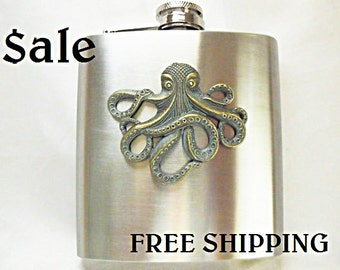 Flask    SALE- FREE SHIPPING-Steampunk  Verdigris Brass Octopus Mens Womens Gift Idea Wedding Favors