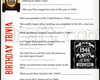 1946 Birthday Trivia Game