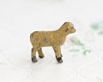 Iron Cast Little Lamb - Antique Lead Sheep Toy - Miniature Nativity Scene - Made in England