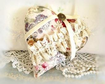 "Heart Pillow, 6.5"" Home Decor Heart Pillow, Floral Decorator Fabric, Handcrafted Handmade CharlotteStyle Handcrafted Folk Art"